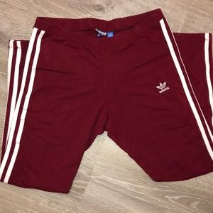 Maroon Colored Adidas Leggings